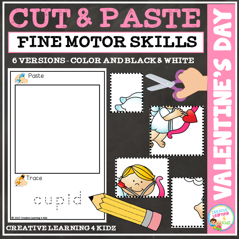 Cut And Paste Fine Motor Skills Puzzle Worksheets Valentines Day