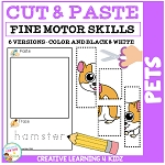 Cut and Paste Fine Motor Skills Puzzle Worksheets: Pets ~Digital Download~