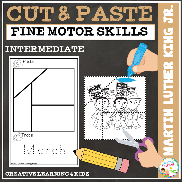 Cut And Paste Fine Motor Skills Puzzle Worksheets Martin Luther