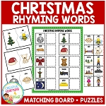Christmas Rhyming Words Board + Puzzles ~Digital Download~