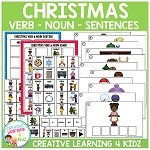 Christmas Verb & Noun Set Matching Sorting Sentence Boards ~Digital Download~