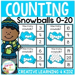 Counting Picture Clip Cards 0-20: Snowballs ~Digital Download~