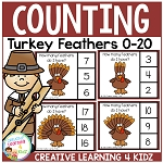 Counting Clip Cards 0-20: Thanksgiving Turkey Feathers ~Digital Download~