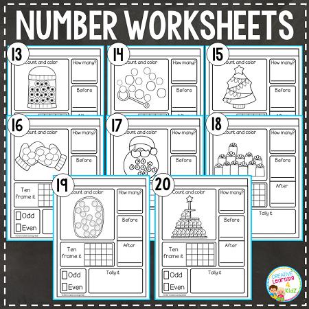 counting number worksheets 1 20 bundle digital download. Black Bedroom Furniture Sets. Home Design Ideas