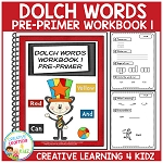 Dolch Words Workbook 1 Pre-Primer ~Digital Download~