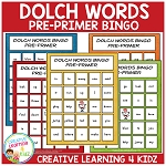 Dolch Words Bingo Pre-Primer ~Digital Download~
