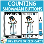 Dry Erase Counting Book/Cards or Clip Cards: Snowman Buttons - Winter ~Digital Download~
