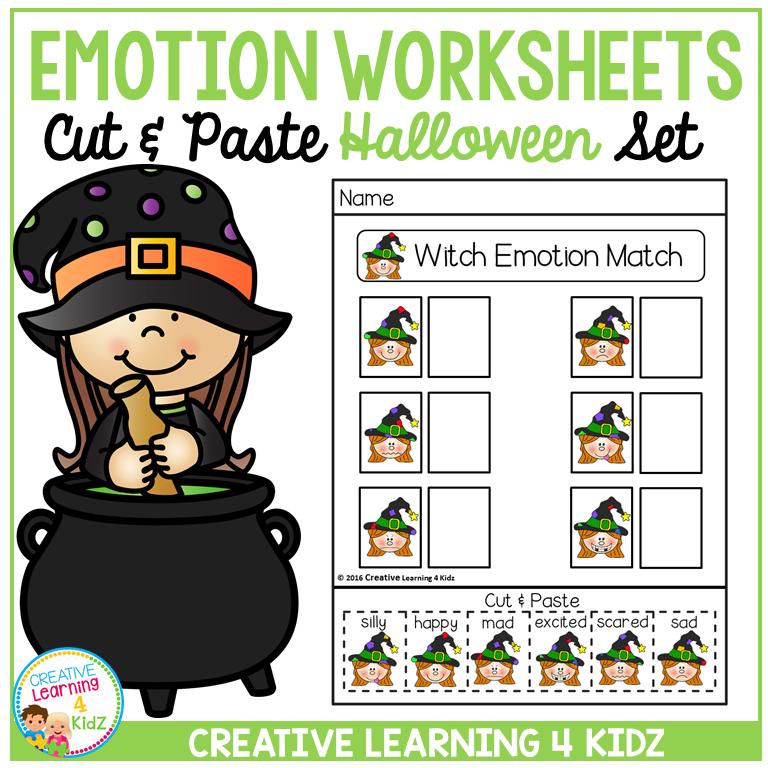 Emotion Matching Cut & Paste Worksheets: Halloween ~Digital Download~