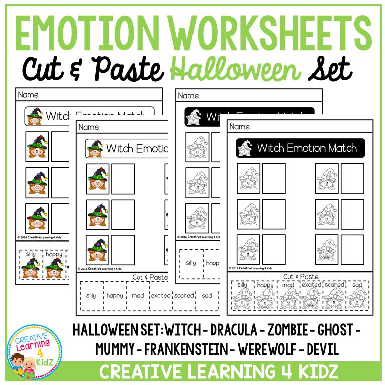 Emotion Matching Cut & Paste Worksheets: Halloween ...