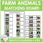 Farm Animals Matching Board ~Digital Download~