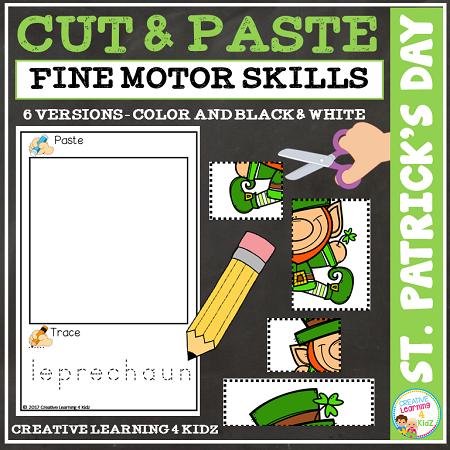 Cut And Paste Fine Motor Skills Worksheets St Patricks Day