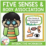 Five Senses & Body Association Interactive Workbook ~Digital Download~