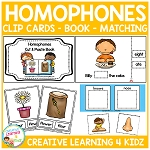 Homophones Clip Cards - Book - Matching Cards ~Digital Download~