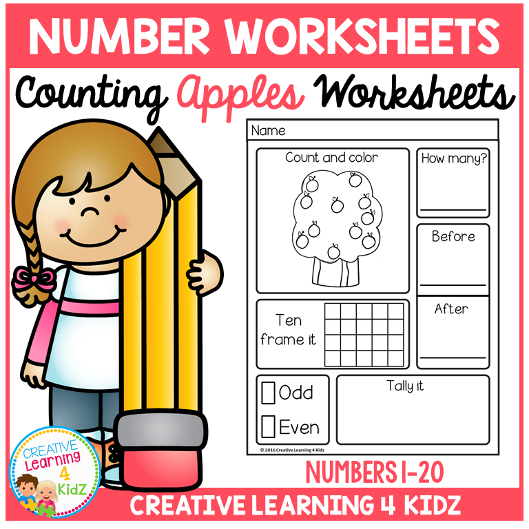 Counting & Number Worksheets 1-20: Apples ~Digital Download~