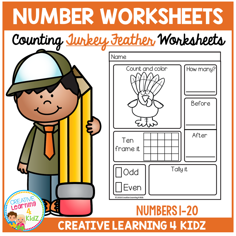 Counting & Number Worksheets 1-20: Thanksgiving Turkey ...