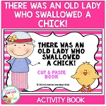 There Was an Old Lady Who Swallowed a Chick! Cut & Paste Activity Book ~Digital Download~