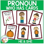 Pronoun Who Has Cards Set 1 He & She ~Digital Download~