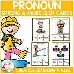 Pronoun Clip Cards: Spring & More ~Digital Download~