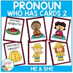 Pronoun Who Has Cards Set 2 He & She  ~Digital Download~