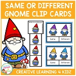 Same & Different Gnome Clip Cards ~Digital Download~