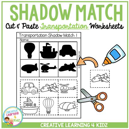 Shadow Matching Transportation Cut & Paste Worksheets ~Digital Download~