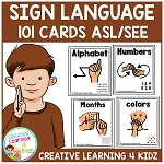 American Sign Language Cards Set 1 ASL/SEE ~Digital Download~
