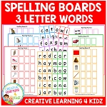 Spelling Boards 3 letter ~Digital Download~