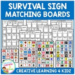 Community Safety Survival Signs & Matching Boards ~Digital Download~