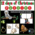 Twelve Days of Christmas Puzzle Worksheets ~Digital Download~
