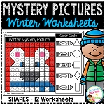Mystery Picture Worksheets Shapes: Winter ~Digital Download~