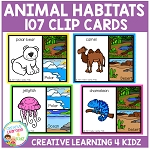 Animal Habitats Clip Cards ~Digital Download~