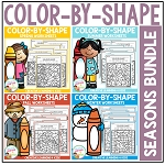 Color By Shape Worksheets: Seasons Bundle ~Digital Download~