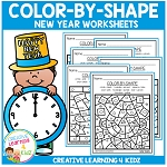 Color By Shape Worksheets: New Years ~Digital Download~