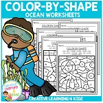 Color By Shape Worksheets: Ocean ~Digital Download~