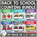 Dry Erase Counting Book/Cards or Clip Cards: Back to School Bundle ~Digital Download~