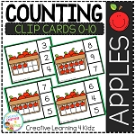 Counting Ten Frame Clip Cards 0-10: Apples ~Digital Download~