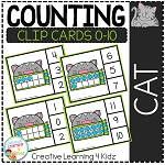 Counting Ten Frame Clip Cards 0-10: Cat ~Digital Download~
