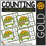 Counting Ten Frame Clip Cards 0-10: St. Patrick's Day Gold ~Digital Download~