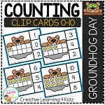 Counting Ten Frame Clip Cards 0-10: Groundhog Day ~Digital Download~
