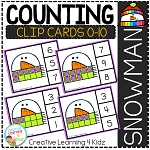 Counting Ten Frame Clip Cards 0-10: Snowman ~Digital Download~