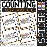Counting Ten Frame Clip Cards 0-10: Spiders Halloween ~Digital Download~