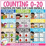 Counting Picture Clip Cards 0-20: Bundle 2 ~Digital Download~