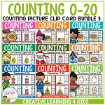 Counting Picture Clip Cards 0-20: Bundle 3 ~Digital Download~
