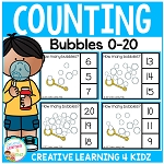 Counting Picture Clip Cards 0-20: Bubbles ~Digital Download~