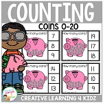 Counting Picture Clip Cards 0-20: Coins ~Digital Download~