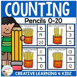 Counting Picture Clip Cards 0-20: Pencils ~Digital Download~