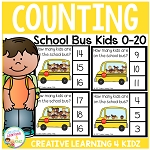 Counting Picture Clip Cards 0-20: School Bus Kids ~Digital Download~