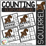 Counting Ten Frame Clip Cards 0-10: Squirrel ~Digital Download~