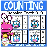 Counting Picture Clip Cards 0-10: Monster Teeth ~Digital Download~