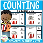Counting Picture Clip Cards 0-20: Popcorn ~Digital Download~